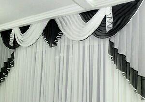 Querbehang, Deko Gardine schwarz / weiss 3 m breit | eBay