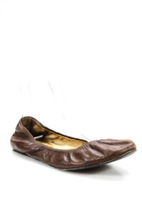 Lanvin-Womens-Rounded-Toe-Slip-On-Ballet-Flats-Shoes-Brown-Leather-Size-8