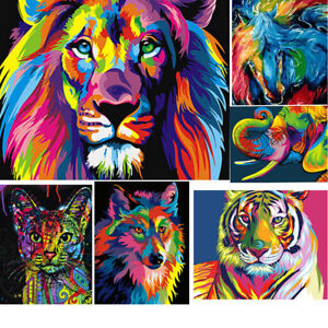 Rainbow Animals DIY Paint by Numbers Kit Canvas Easy ...