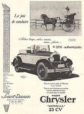PUBLICITE AUTOMOBILE CHRYSLER ROADSTER IMPERIAL 23 CV CALECHE DE 1926 FRENCH AD