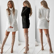 Womens Winter Knitted Jumper Dress Ladies Casual Long Sweater Pullover Tops Size