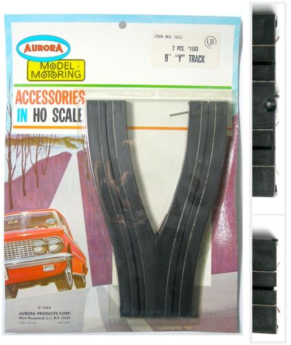 "Aurora Model Motoring HO Slot Car 9/"" /'Y/' SPLIT TRACK 2 lane to single lane #1503"