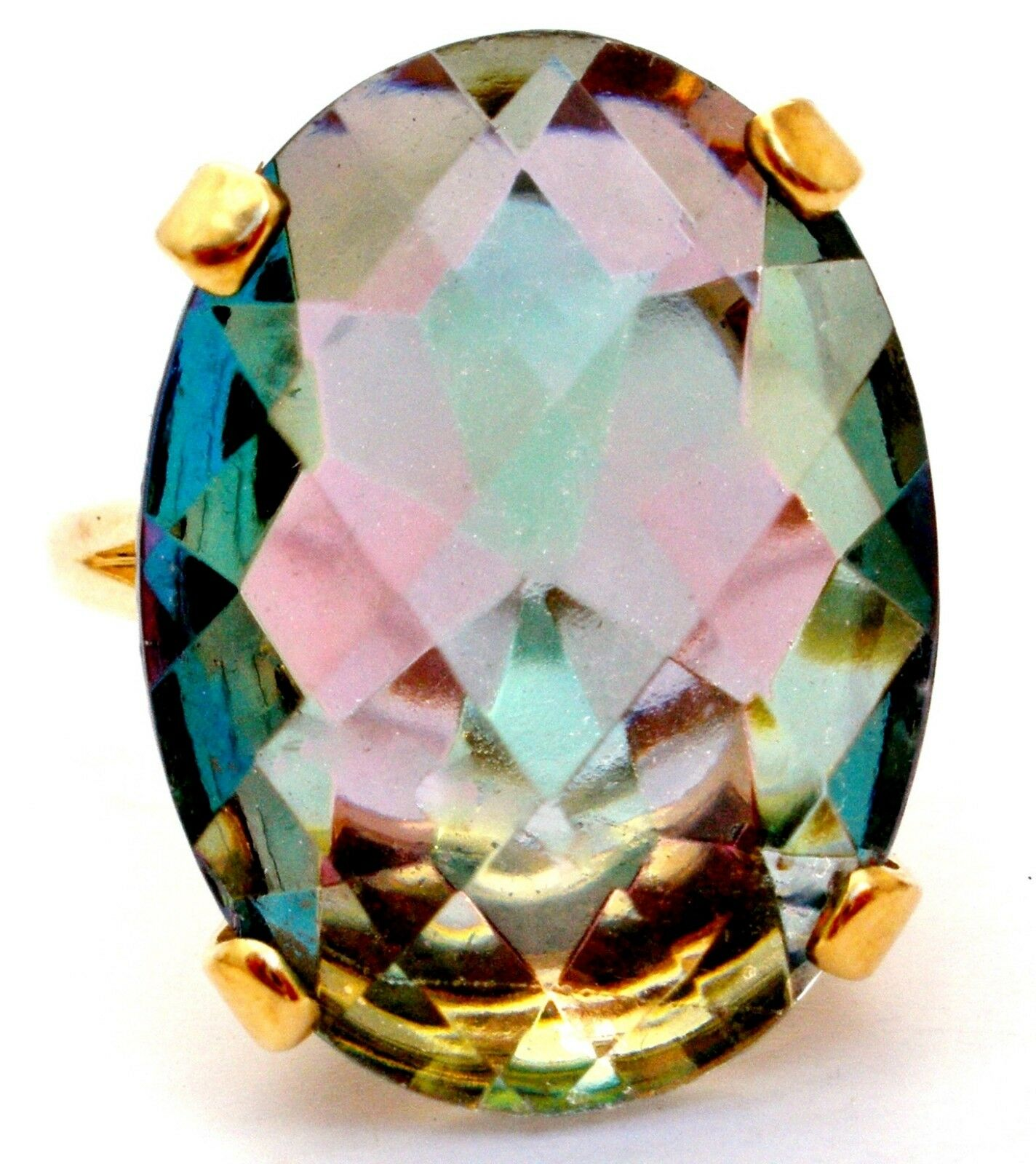 Mystic Topaz Ring 14K Yellow gold 19 Carats Size 11.25 Fine Gemstone Jewelry