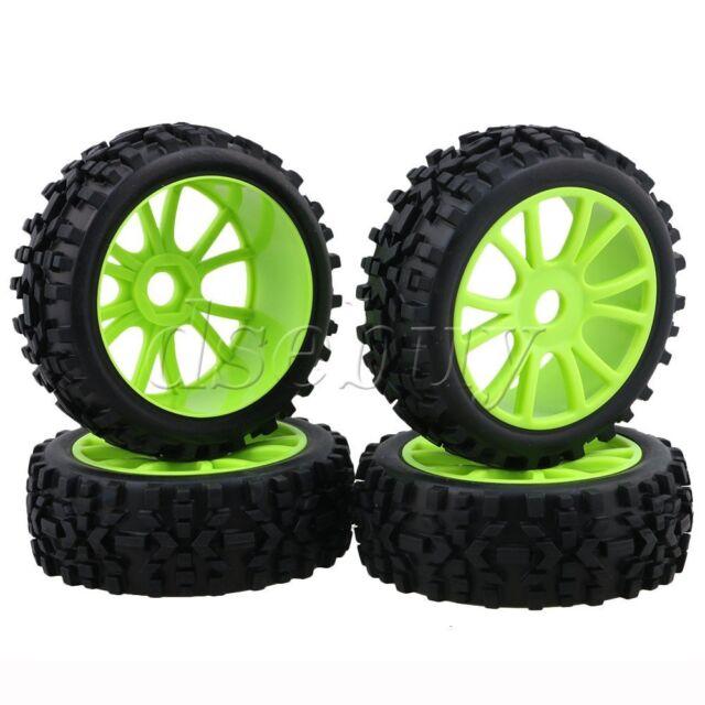 4Piece Dual Green 6Spoke Wheel Rim+Rhombus Rubber for RC1:8 Off Road Car