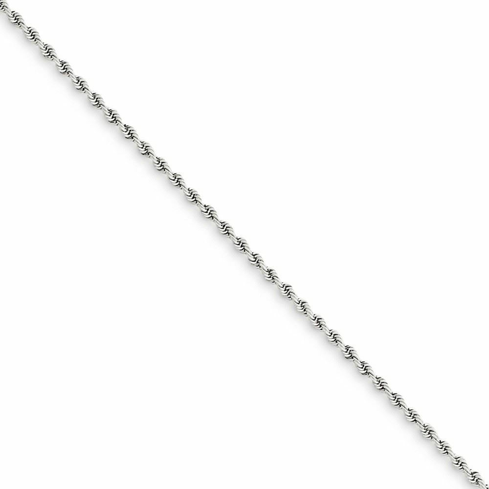 14K White gold 1.75MM Handmade Rope Link Bracelet