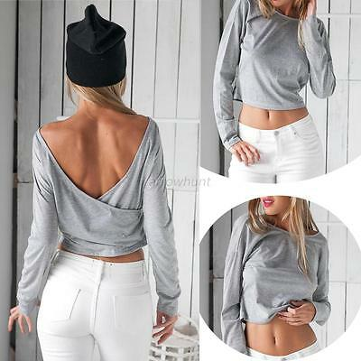 Sexy Backless Summer Fashion Women Casual Long Sleeve V-back Blouse T Shirt Tops