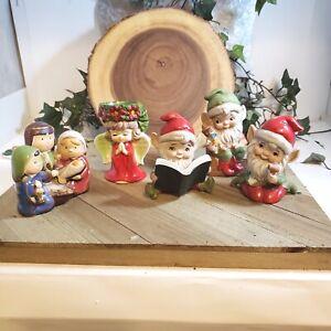 3 Homco Christmas Elves #5406 & Lefton Christmas Angel & Children Nativity Set