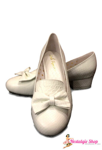 Ramona 60er 50er Schuhe Hochzeit Weiß Bow Pumps Lola Echtleder Damen Schleife wUxSqw