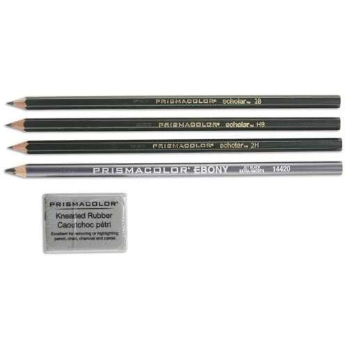 Kneaded Er 070530025026 4B//2B//HB//2H Prismacolor® Scholar Graphite Pencil Set