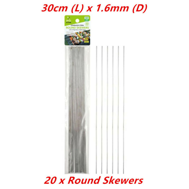 20 x Round Stainless Steel Metal Skewers Silver BBQ Picnic Barbecue Party Needle
