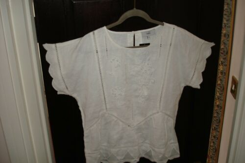 White Summer Bnwt Next 10 12 Uk 100 Shirt Top Floral Embroidered Tunic Linen Cgx5FxRqw