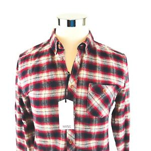 cdc48ea82f7 WESC Oliver Red Plaid Long Sleeve Button Down Flannel Shirt Mens ...