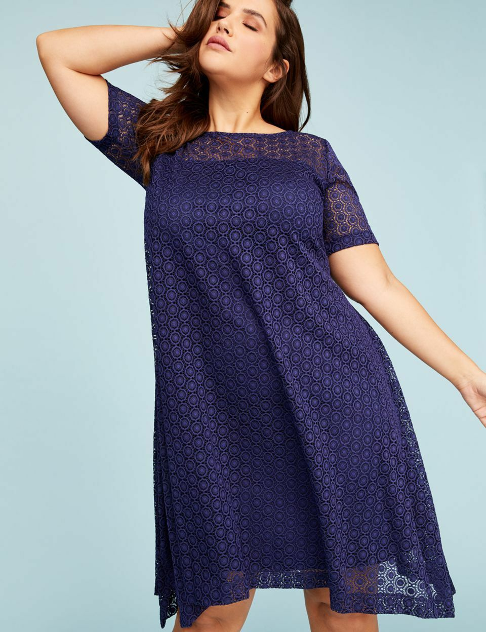 NEW LANE BRYANT PLUS SIZE MEDIEVAL blueE SHORT SLEEVE LACE SWING DRESS SZ 14 16