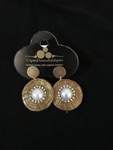 Brazilian Golden Grass Earrings with pearl /Organic Jewlery/Capim Dourado