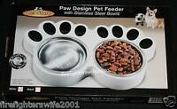 Paw Design Dog Cat Pet Feeder With Stainless Steel Bowls White In Box