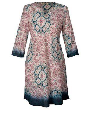 *SALE*  NOMADS Pink Boho Cotton Summer Short Kaftan Tunic Top Dress Fair Trade
