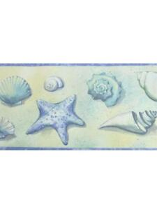 Image Is Loading Seashells In Blue And Yellow Wallpaper Border