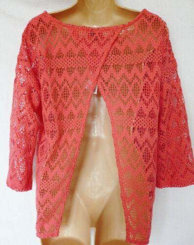 BNWT NEXT New Ladies pink coral crochet open split back jumper cotton top
