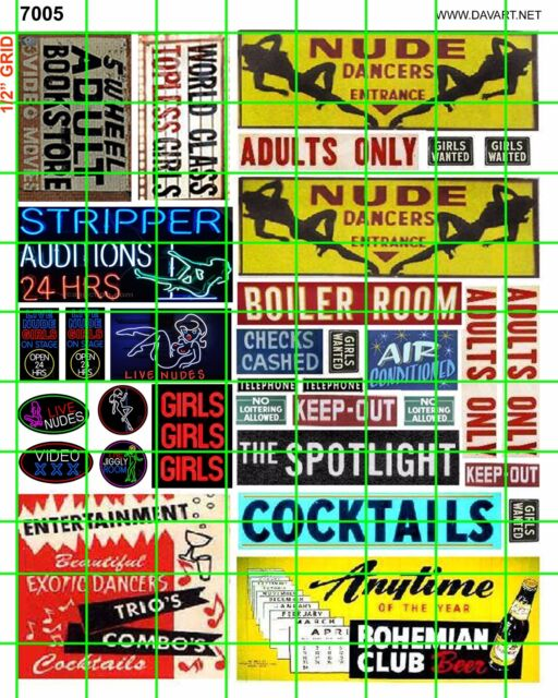 7005 HO 1:87 DAVE'S DECALS NUDE GIRLS STRIP CLUB SIGNS ADVERTISING