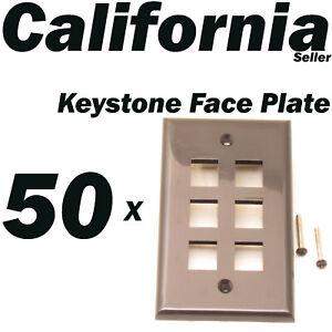 5 X Faceplate 6 Port Keystone Jack RJ45 CAT5 CAT5e CAT6 Network Wall Plate Black