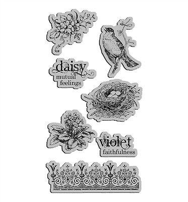Graphic 45 Secret Garden stamp 7p Nature bird nest violet faithful wedding home