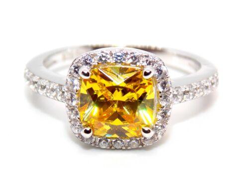 Sterling Silver anillo de zafiro y diamante 2.65ct Amarillo L Talla 6 caja libre 925