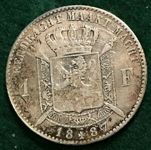 1887-One-Franc-Coin-Belgium-Leopold-II-83-5-Silver