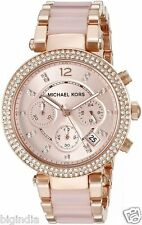 Michael Kors Women's MK5896 Rose Gold-cream tone Chronograph Watch