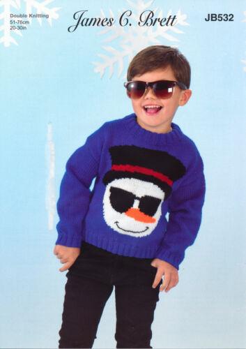 Childrens Knitting Pattern Christmas Snowman Xmas Sweater James Brett JB532
