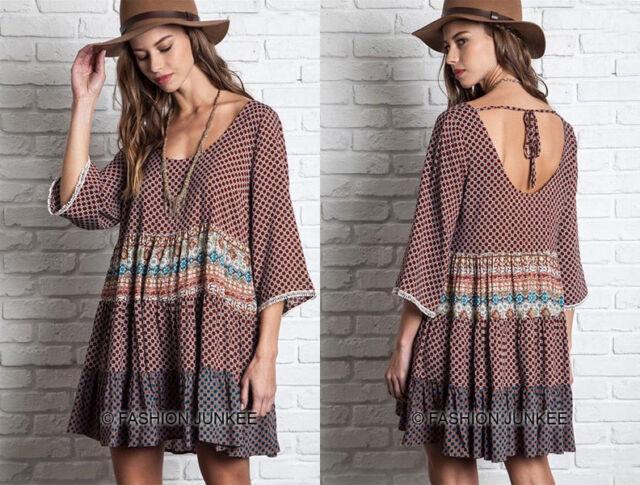 BROWN 03 MIXED PRINT DRESS Tunic Shirt 3/4 Sleeve Bohemian Boho Peasant S M L