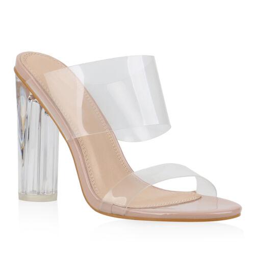 Damen Sandaletten High Heels Transparente Party Pantoletten Lack 832415 Trendy