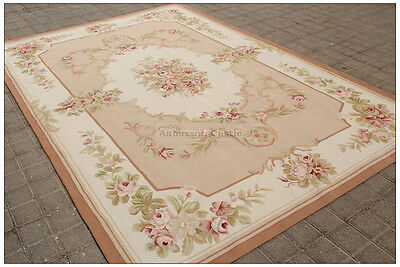 Shabby French Chic Aubusson Rug LIGHT PINK IVORY CREAM Subtle Pastel Roses WOW!!