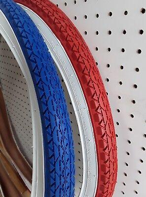 "2-26x2.125/"" RED WALL BEACH CRUISER BIKE BICYCLE GOODYEAR TREAD FITS SCHWINN S2"