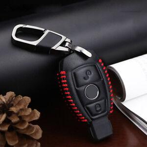 Premium-Cuero-2-Botones-Remoto-Llavero-Mando-Estuche-Cubierta-for-Mercedes-Benz