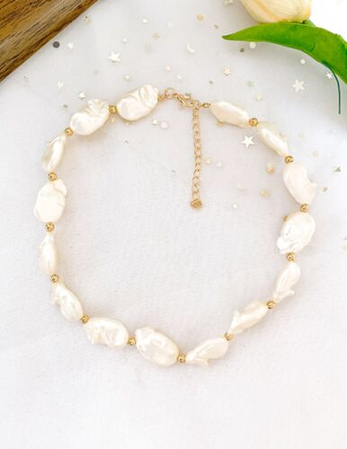 chunky Pearl layered multi layered choker collar gold chain necklace