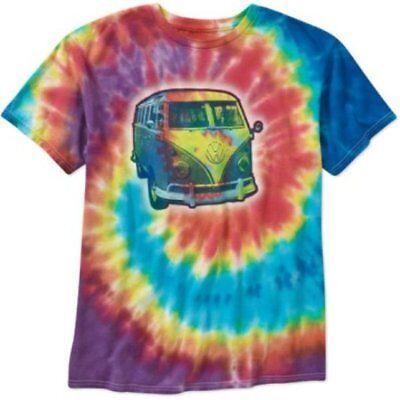 Official Licensed VW Volkswagen Kombi Bus Tie Dye Hippie Mens Short Sleeve Shirt