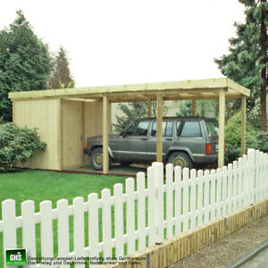 Carport-3x8-m-Holz-Bausatz-11-11-cm-Stuetzen-Schneelast-bis-200-Kg-qm-moeglich