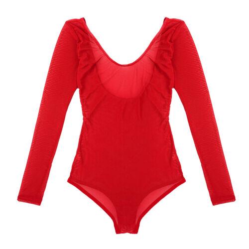 Womens Mesh See Through Long Sleeve Bodycon Bodysuit Belly Dance Leotard Tops