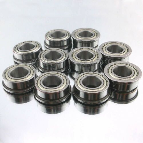 10 x F63800zz Mini Metal Double Shielded  Flanged  Ball Bearings 10mm*19mm*7mm