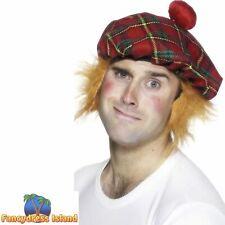 Mens Tam O Shanter Hat with Fur Hair Scottish Scots Fancy Dress Hat New H