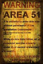 AREA 51 Retro vintage Rusted Metal LOOK Sign