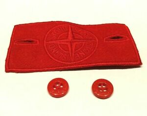 EXTREMELY-Rare-Red-Stone-Island-Badge-and-2-buttons
