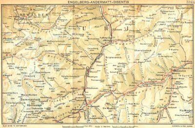 Honey Switzerland Engelberg-andermatt-disentis 1930 Old Vintage Map Plan Chart Antiques