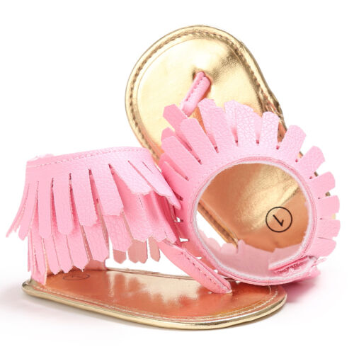 Newborn Baby Girl Crib Shoes Infant Première Chaussures Tongs Sandales 0-18 M