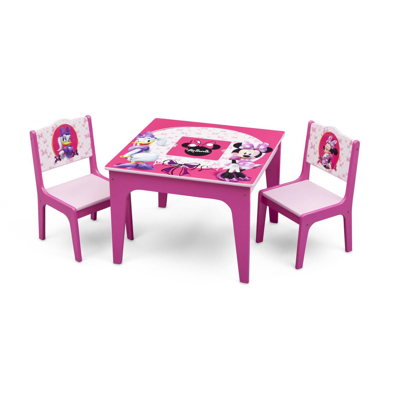 Nouveau Ensemble 3 pièces Minnie Mouse en bois Table et Chaise Ensemble de livraison internationale