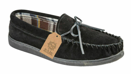 MENS SMART COMFORT REAL LEATHER SUEDE SLIP ON LEISURE GENTS MOCCASIN SLIPPERS