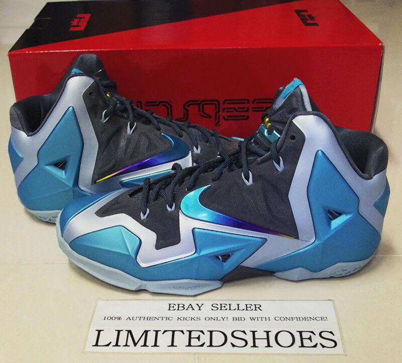 Nike lebron xi 11 gamma blu 616175-401 florida che 2k14 natale elite id