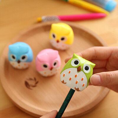 2Pcs Mini Funny Cute Lovely Owl Pattern Pencil Sharpener School Kid's Favorite