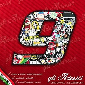 Adesivo Stickers NUMERO 9 moto auto cross gara Nero  5 cm