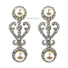 Silver Crystal Diamante & Pearl Drop Vintage Heart Bridal Wedding Earrings